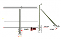 Perimeter fence construction details of public garden dwg file
