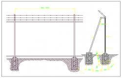 Perimeter fence details of garden dwg file