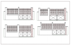 Perimeter fence details with gate of garden dwg file