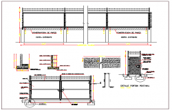 Perimeter fence of garden elevation, section and construction details dwg file