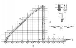 Perimeter fence section and installation structure details dwg file