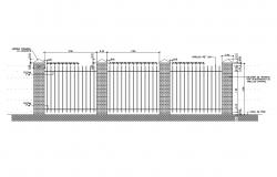 Perimeter fence sectional drawing details dwg file