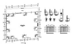 Perimeter fence structure and construction details dwg file