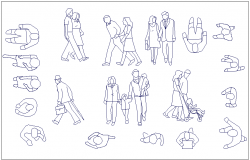 Person different position and style block view dwg file