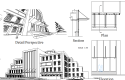 Perspective view, sectional detail  of a building dwg file