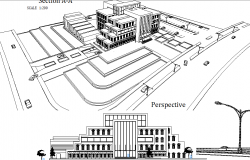Perspective view of a building dwg file