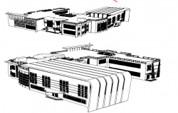 Perspective view of a educational institution dwg file