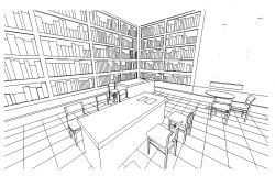 Perspective view of a library dwg file