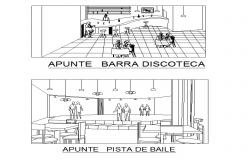 Perspective view of bar in autocad