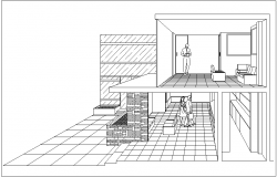 Perspective view of hotel area with interior view dwg file