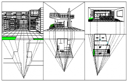 Perspective view outlook design drawing of bungalow design drawing