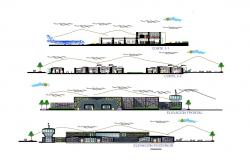 Peru international airport all sided elevation and sectional details dwg file