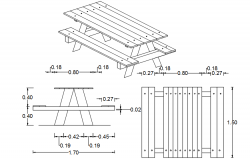 Picnic table drawing in dwg file