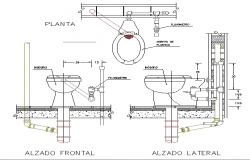 Pipe fitting details of toilet sheet dwg file