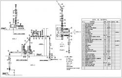 Pipe line design view with plumbing detail and part list dwg file