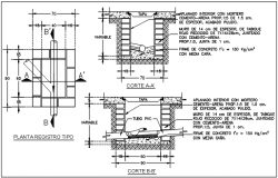 Pipe plan and section detail dwg file
