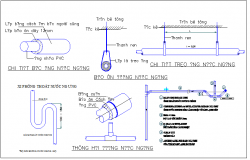 Pipeline connections detail with section plan view dwg file