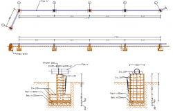 Pipeline section detail dwg file
