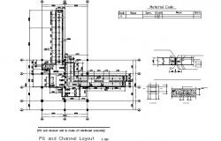 Pit and channel layout plan detail dwg file