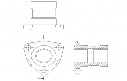 Plan, elevation and section Simplified plane plan detail dwg file
