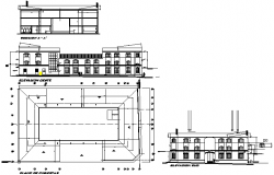 Plan, elevation and section commercial layout plan detail dwg file