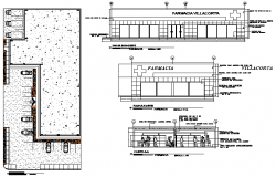 Plan, elevation and section farmacy detail dwg file