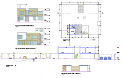 Plan, elevation and section home plan layout file