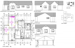 Plan, elevation and section house 127 m3 detail autocad file