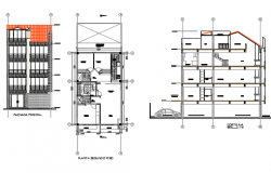 Plan, elevation and section house detail dwg file