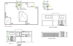 Plan, elevation and section living home plan autocad file