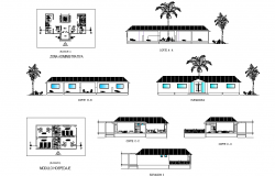 Plan, elevation and section tourist hostel dwg file