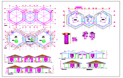Plan,elevation and section view of collage with electrical plan dwg file