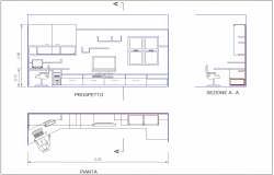 Plan,elevation and section view of interior view of office dwg file