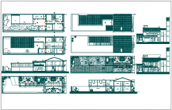 Plan,elevation and section view of medical consultant building dwg file
