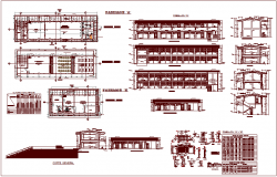 Plan,elevation and section view with door and window detail and view for classroom dwg file