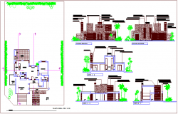 Plan,elevation and sectional view of housing design view dwg file
