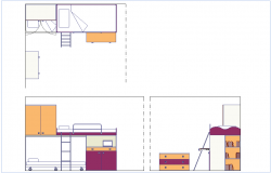 Plan,elevation and side view of bedroom dwg file