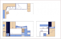 Plan,elevation and side view of double bed design with furniture view dwg file