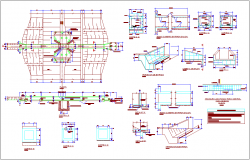 Plan,section and detail view of steel structure with channel dwg file