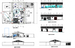 Plan, elevation and section Municipality halter plan detail dwg file