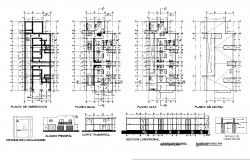 Plan, elevation and section apartments dwg file