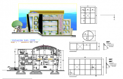 Plan, elevation and section detail dwg file
