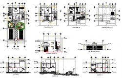 Plan, elevation and section house autocad file