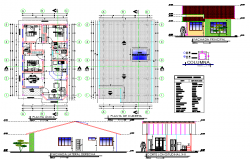 Plan, elevation and section house plan autocad file