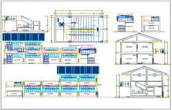Plan,elevation and section view of school classroom view dwg file