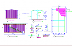 Plan,elevation and section view with column detail view for cellar dwg file