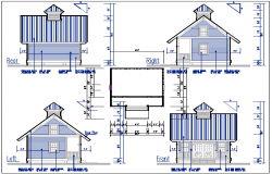 Plan and Elevation view of bungalow detail dwg file