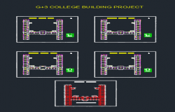 Plan and column layout of G+3 college building