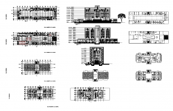 Plan and elevation 2d view layout of hospital building structure layout autocad file