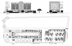 Plan and elevation Hospital building 2d view layout dwg file